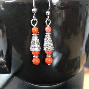 💜Orange howlite earrings handcrafted